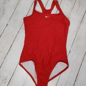 Nike Girls Red One Piece Swimsuit Size 14.